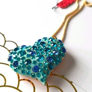 NEW BJ Necklace Blue Crystal Heart Pendant Chain